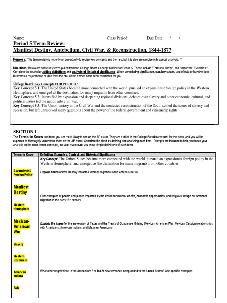 era 5 review sheet hw american civil war southern united states