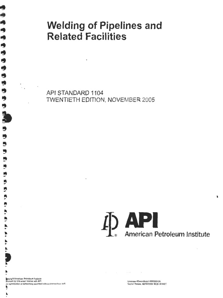 Api 1104 welding of pipelines and related facilities.