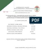 """""""La intervención de la  Comunidad Internacional ante el conflicto armado y su influencia en las negociaciones para llegar a acuerdos de paz en Colombia durante el periodo 2010-2014."""""""