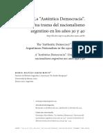 """La """"Auténtica Democracia"""". Una trama del nacionalismo argentino en los años 30 y 40 - BORIS MATÍAS GRINCHPUN"""