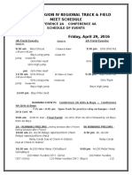 2016 Regional T F Schedule of Events