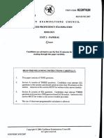 Cape Biology Unit 2 Past Papers 2006-2007