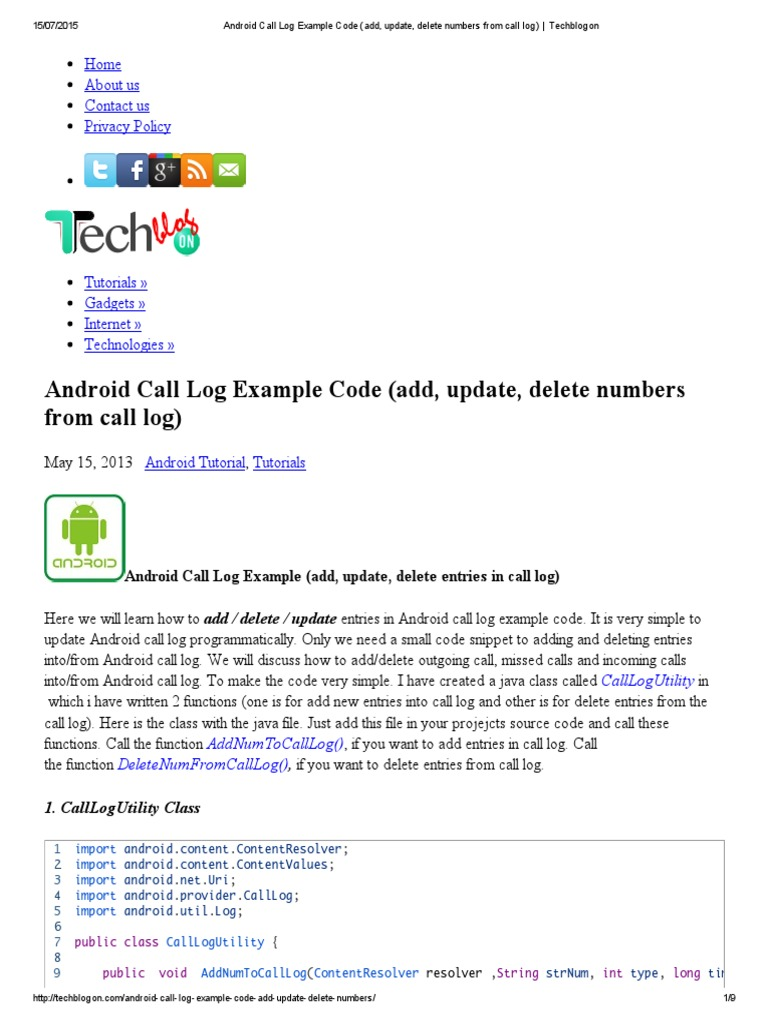 Android Call Log Example Code (Add, Update, Delete Numbers