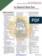 SBI Clerk (Assistant )Online Exam, 15.02.2015
