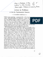 Dundes Projection in Folklore - A Plea for Psychoanalytic Semiotics