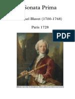 Michel Blavet Sonata Prima E-moll - Full Score