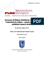 Adams, J. B., 2013. Summary of Dietary, Nutritional, And Medical Treatments for Autism - Based on Over 150 Published Research Studies. Autism Research Institute, Issue 40