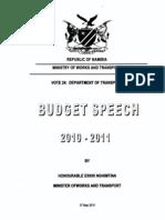Budget Motivation-Department of Transport