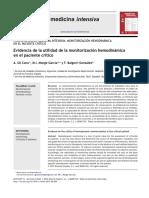 Evidencia de La Utilidad de La Monitorizacion Hemodinamica en Pte Critico