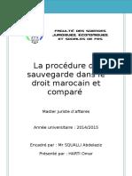 La Procedure de Sauvegarde Des Entreprises en Difficultes Dans Le Droit Marocain Et Compare Harti Omar