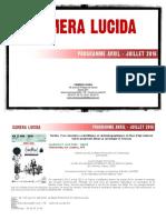 CAMERA LUCIDA - Programme - Avril Juillet 2016
