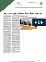 Alla Cina piace molto il Made in Marche - Il Corriere Adriatico del 22 aprile 2016