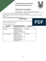 Certificado de Analisis Sustancia Desconocida