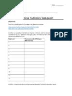 nutrient webquest worksheet