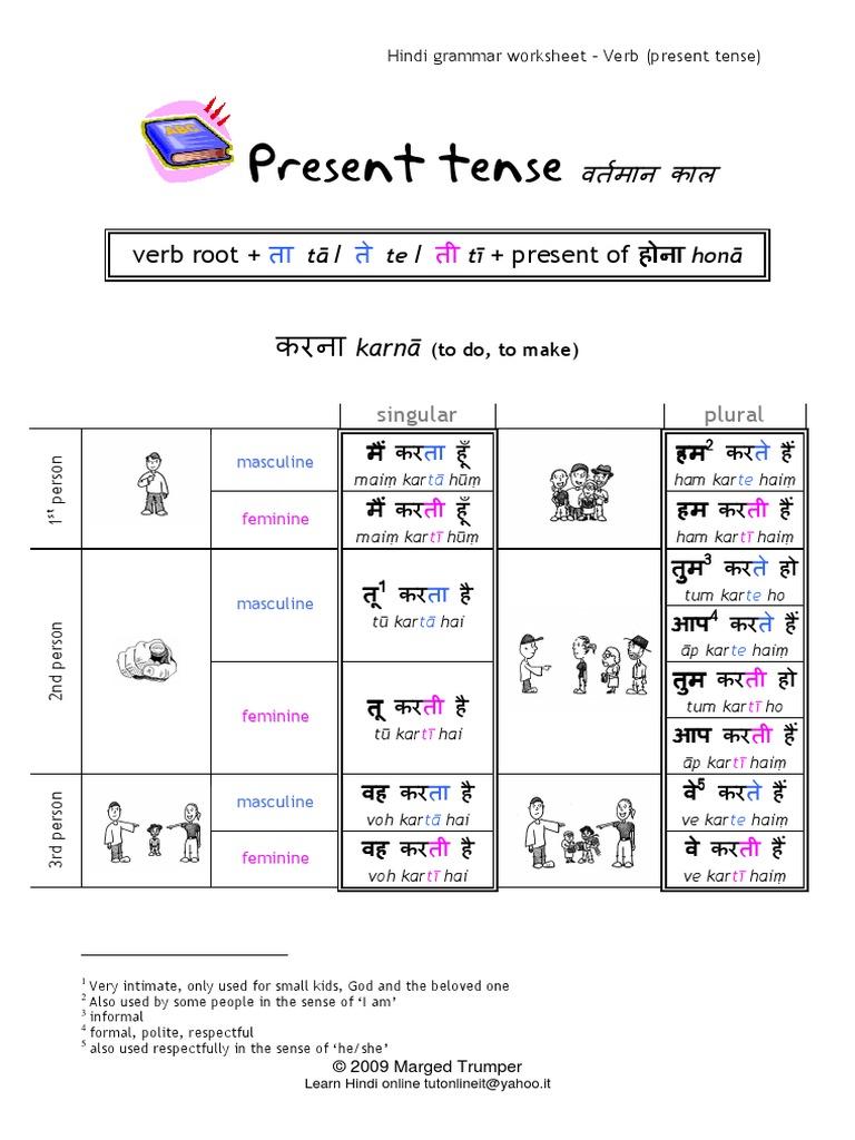 16361957 Hindi Grammar Worksheet Present Tense Action In Simple Present Pdf Grammar Morphology