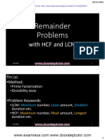 Solving LCM HCF Remainder Problems