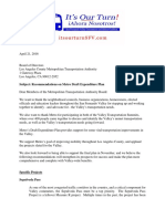 San Fernando Valley Commuters and Riders Coalition letter to Metro on its Draft Expenditure Plan
