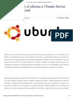 Cómo Cambiar El Idioma a Ubuntu Server Desde Un Terminal