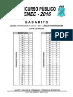 Gabarito Portugues Semec2016