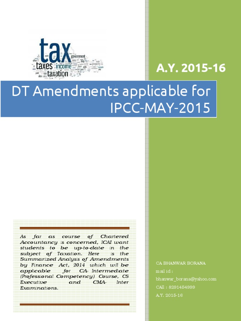 IPCC DT Amendments for May 15 3H1S14KY | Capital Gains Tax | Income Tax In  India