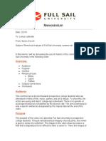 FSU Rhetorical Analysis Memo