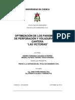 Optimizacion Parametros de Perforacion y Voladura en Cantera