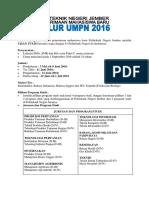 INFORMASI UMPN 2016