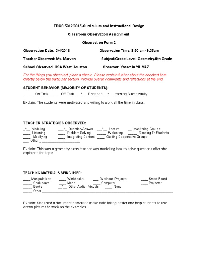 classroom observation assignment-form 2 blank | Quality Of