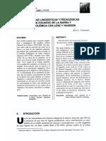 Velleman. Las Ideas Lingüisticas y Educativas de Eduardo de La Barra y Su Polemica Con Lenz y Hassen