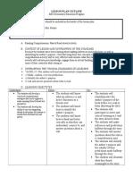 lesson plan outline read comprehension 400 level