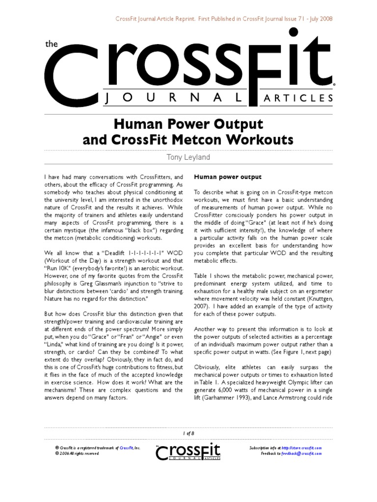 human power output and crossfit | physical exercise, Muscles