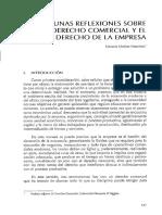 Algunas Reflexiones Sobre El Derecho Comercial y El Derecho de La Empresa