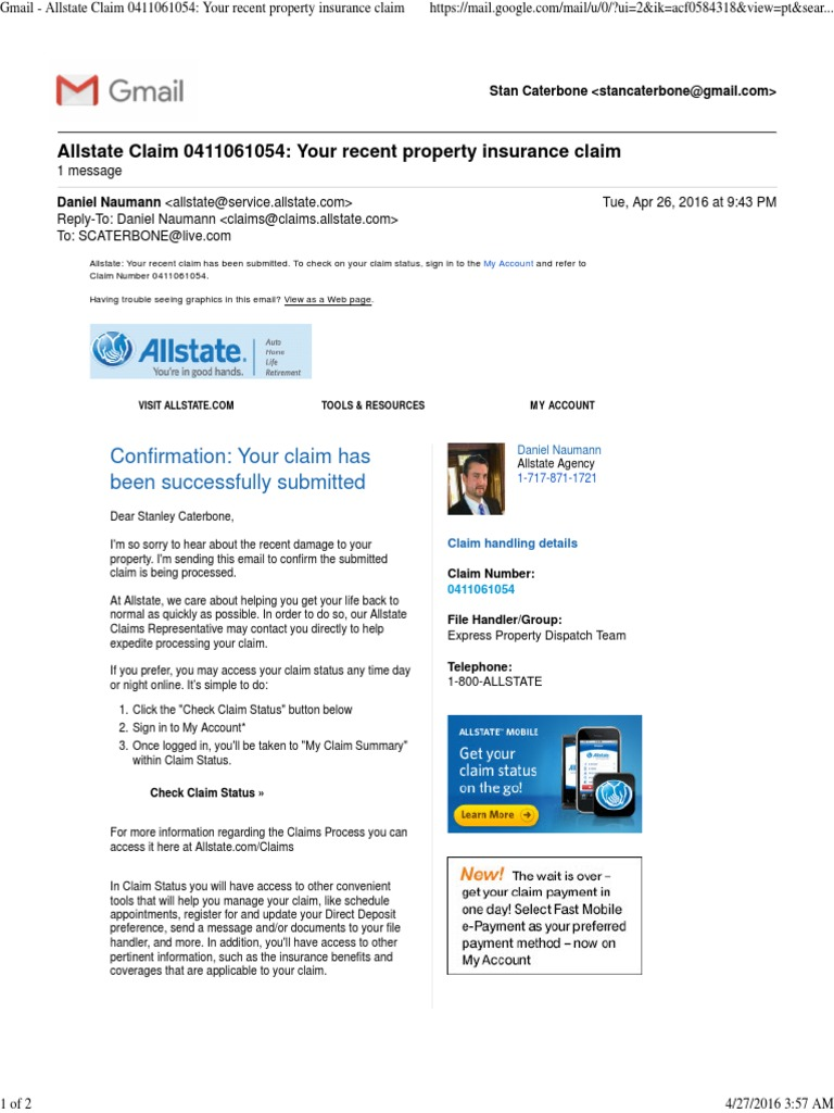 Allstate My Account >> Gmail Allstate Claim 0411061054 Your Recent Property Insurance