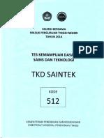 Naskah Soal SBMPTN 2014 Tes Kemampuan Dasar Sains Dan Teknologi (TKD Saintek) Kode Soal 512 by [Pak-Anang.blogspot.com]