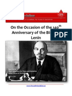 On the Occasion of the 140th Anniversary of the Birth of Lenin