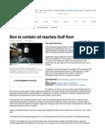 Box to contain oil reaches Gulf floor