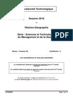 Bac 2016 Filiere Technologique Histoire Geo