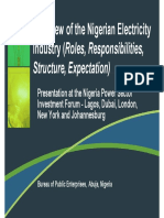 Overview of the Nigerian Power Sector Reform Investor Forum Presentation BPE