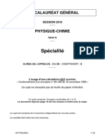 Bac 2016 Pondichery Physique Chimie Specialite s