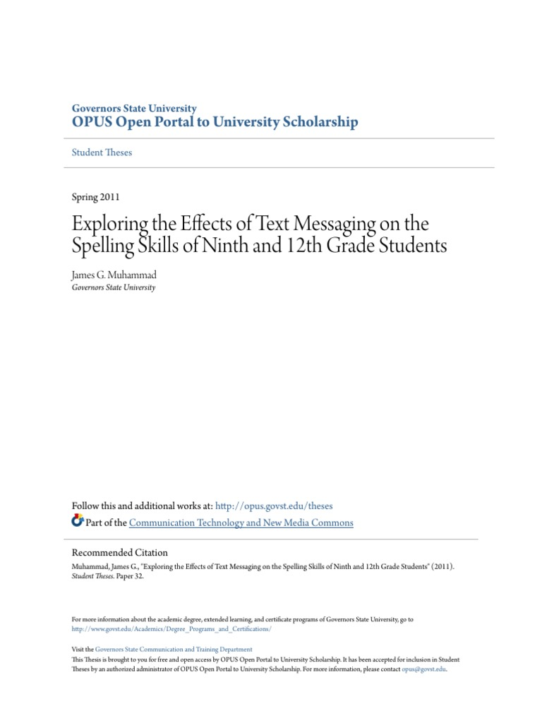 Exploring The Effects Of Text Messaging On The Spelling Skills Of