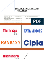 hr policies and practices in tata, ranbaxy, cipla and mahindra