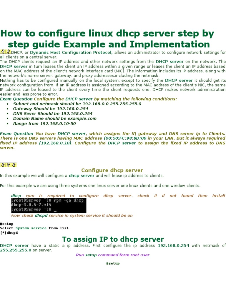How to configure linux dhcp server | Ip Address | System
