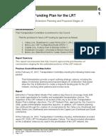 Long Term Funding Plan for Edmonton's LRT