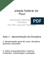 UFPI 2015.2 IMC Tema 1 Introdução e Questões Gerais Sobre a Ciência
