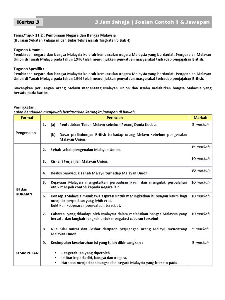 SejT5 - Soalan+Jawapan Contoh, Kertas 3 Bab 4 (Malayan Union)