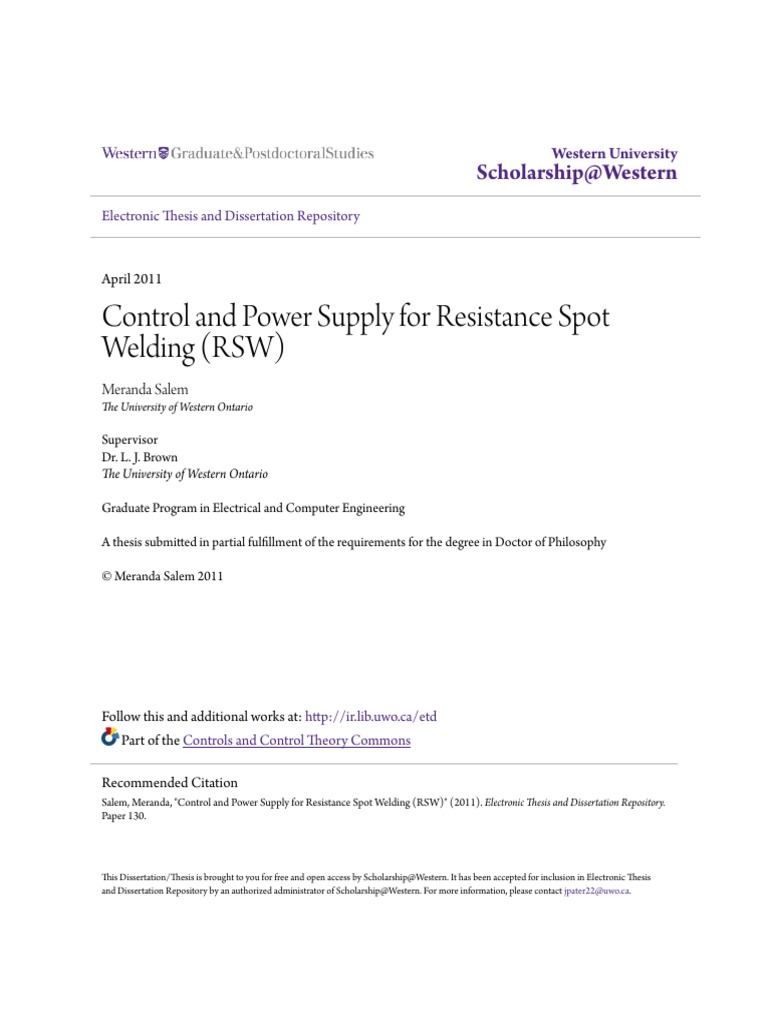 Control And Power Supply For Resistance Spot Welding Rswpdf Schematic Diagram