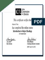 kprice-certificate-icfl intro to subject headings