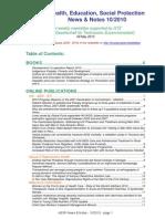 Health, Education, Social Protection News & Notes 10/2010