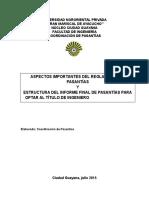 Aspectos Del Reglamento-Estructura Del Informe y Algo Más
