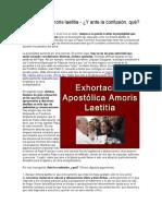 Amoris Laetitia - Y Ante La Confusión, Qué